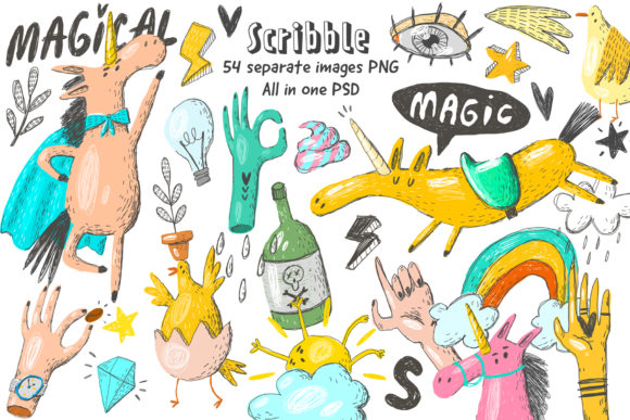 Print on Demand: Scribble Unicorn Clipart Set Graphic Illustrations By Architekt_AT
