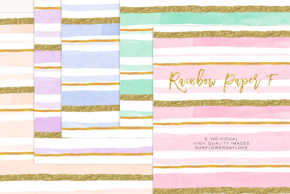 Print on Demand: Stripes Pink Gold Hand Drawn Clipart Graphic Illustrations By SunflowerLove