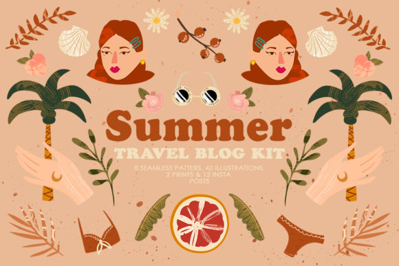 Summer Travel Blog Kit Grafik Illustrationen von NassyArt