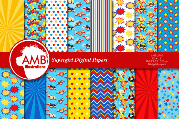 Supergirl Paper Patterns 2745 Graphic Patterns By AMBillustrations