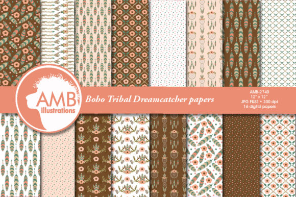 Tribal Boho Papers 2740 Graphic Patterns By AMBillustrations