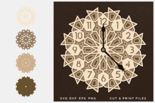 Wall Clock Cut File Multilayer Graphic 3D SVG By 2dooart