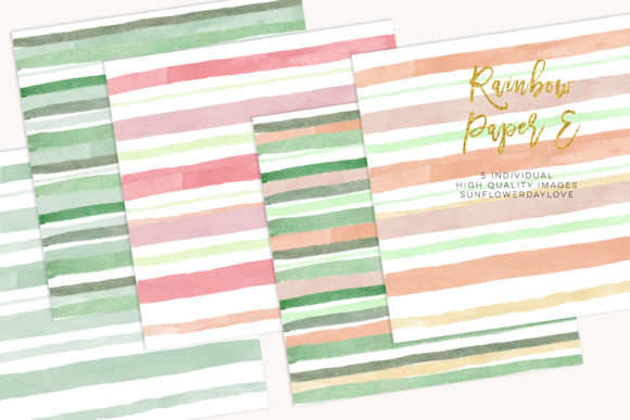 Print on Demand: Watercolor Stripes, Green Mint Paper Graphic Illustrations By SunflowerLove