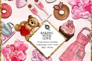 Print on Demand: Baking with Love - Watercolor Valentine Set Graphic Illustrations By TheGGShop