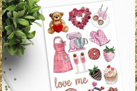 Print on Demand: Watercolor Valentine Clipart Set Graphic Illustrations By TheGGShop - Image 10