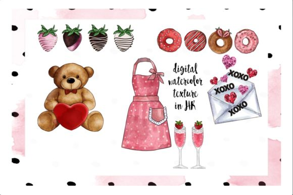 Print on Demand: Watercolor Valentine Clipart Set Graphic Illustrations By TheGGShop - Image 3