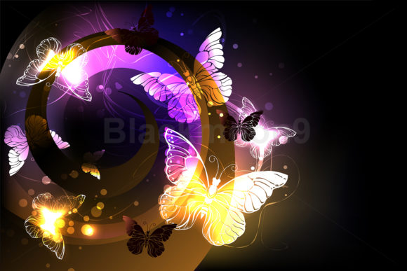 Whirlwind with Night Butterflies Graphic Illustrations By Blackmoon9