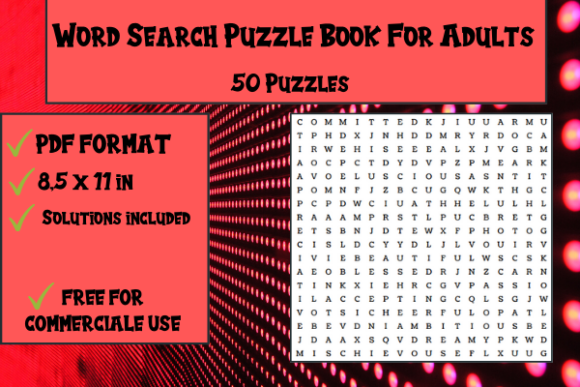 Print on Demand: Word Search Puzzle Book 50 Puzzles Graphic KDP Interiors By Papeterie Bleu
