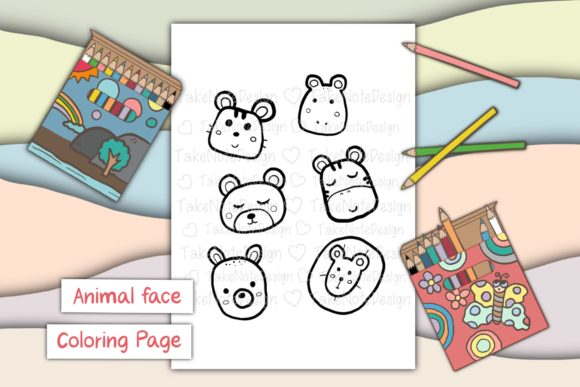 Animal Faces Graphic Coloring Pages & Books Kids By TakeNoteDesign