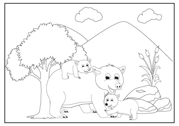 Print on Demand: Cute Animal Coloring Pages for Kids Graphic Coloring Pages & Books Kids By curutdesign