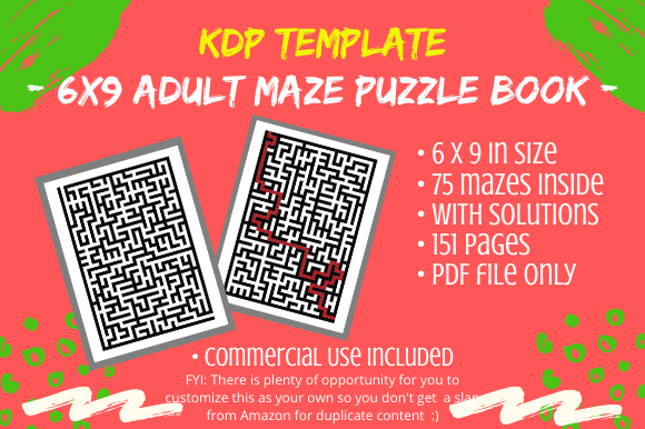 Download Free Kdp 75 Adult Mazes Puzzles Book Graphic By Tomboy Designs for Cricut Explore, Silhouette and other cutting machines.