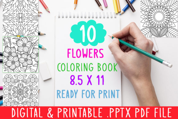 Print on Demand: 10 Flowers Coloring Book for Kids Adults Graphic Coloring Pages & Books Kids By DesignsBundles - Image 1