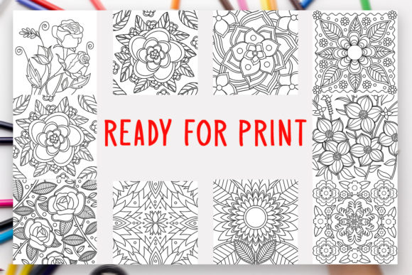 Print on Demand: 10 Flowers Coloring Book for Kids Adults Graphic Coloring Pages & Books Kids By DesignsBundles - Image 2