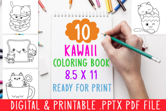 Print on Demand: 10 Kawaii Coloring Book for Kids Graphic Gráfico Libros para colorear - Niños Por DesignsBundles