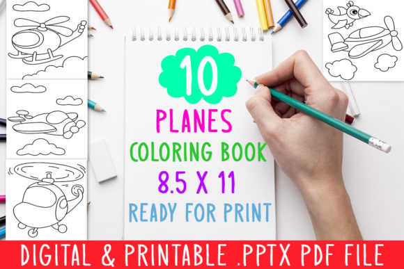 10 Planes Coloring Book for Kids Graphic Graphic Coloring Pages & Books Kids By DesignsBundles