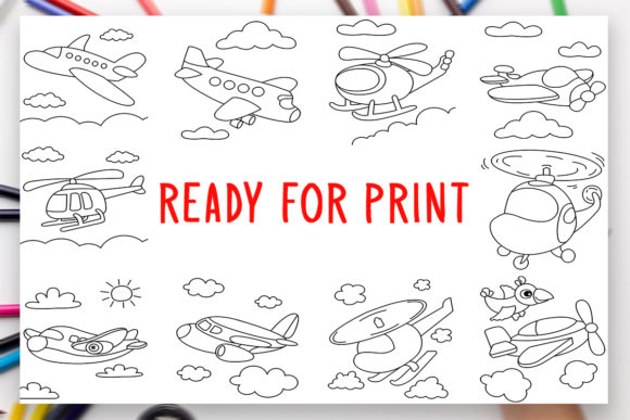 Print on Demand: 10 Planes Coloring Book for Kids Graphic Graphic Coloring Pages & Books Kids By DesignsBundles - Image 2