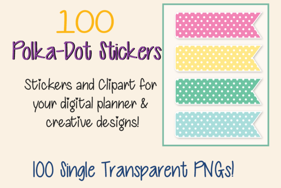 Print on Demand: 100 Box Dot Clipart and Digital Stickers Graphic Print Templates By AM Digital Designs