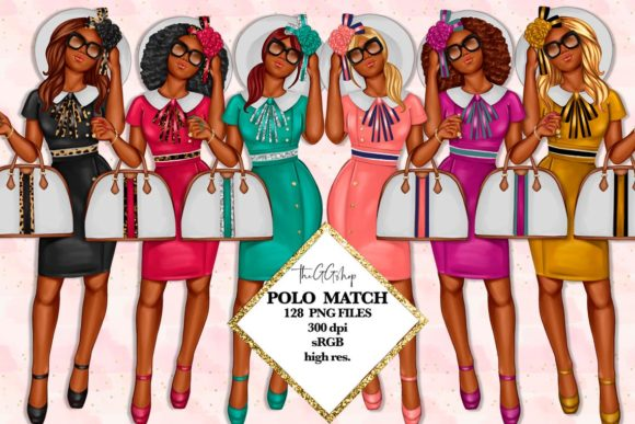 Print on Demand: African American Fashion Girl Clipart Grafik Illustrationen von TheGGShop