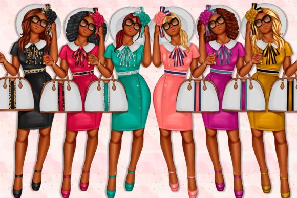 Print on Demand: African American Fashion Girl Clipart Graphic Illustrations By TheGGShop - Image 2