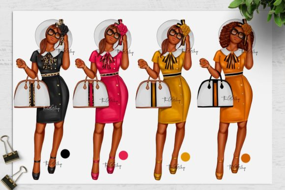 Print on Demand: African American Fashion Girl Clipart Graphic Illustrations By TheGGShop - Image 3