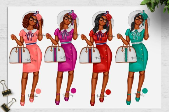 Print on Demand: African American Fashion Girl Clipart Graphic Illustrations By TheGGShop - Image 4