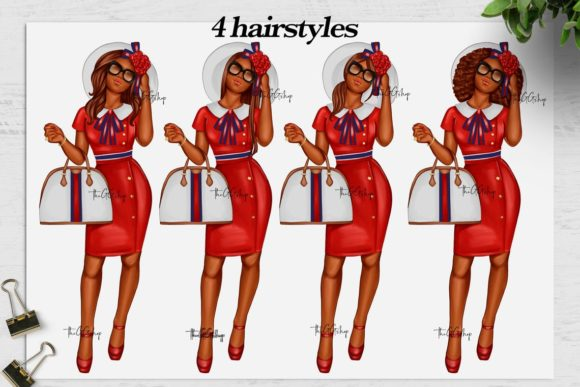 Print on Demand: African American Fashion Girl Clipart Graphic Illustrations By TheGGShop - Image 5