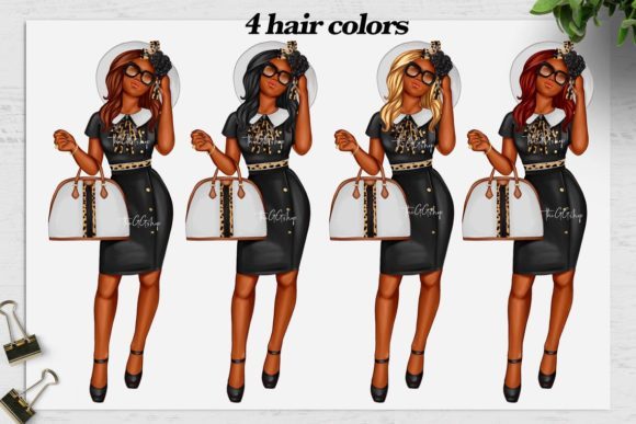Print on Demand: African American Fashion Girl Clipart Graphic Illustrations By TheGGShop - Image 6
