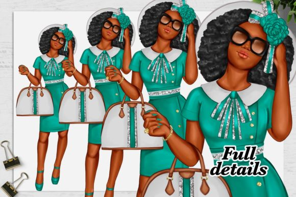 Print on Demand: African American Fashion Girl Clipart Graphic Illustrations By TheGGShop - Image 7