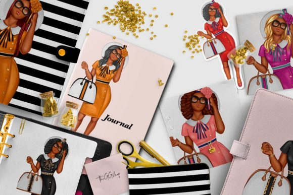 Print on Demand: African American Fashion Girl Clipart Graphic Illustrations By TheGGShop - Image 9