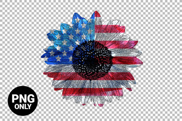 Print on Demand: American Flag Sunflower Graphic Print Templates By 99 Siam Vector