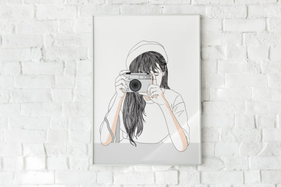 Art Print - Girl Secretly Taking Picture Graphic Illustrations By Saydung89