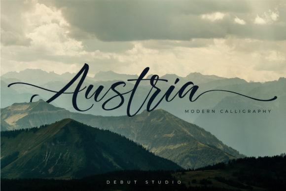 Print on Demand: Austria Script & Handwritten Font By Debut Studio