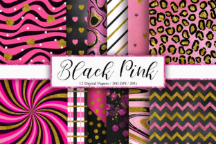 Print on Demand: Black Pink Gold Glitter Background Graphic Backgrounds By PinkPearly