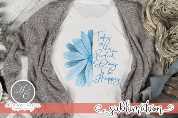 Print on Demand: Blue Half Flower with Saying Graphic Illustrations By Shannon Casper