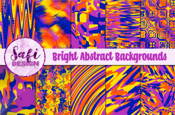 Print on Demand: Bright Abstract Backgrounds Graphic Backgrounds By Safi Designs