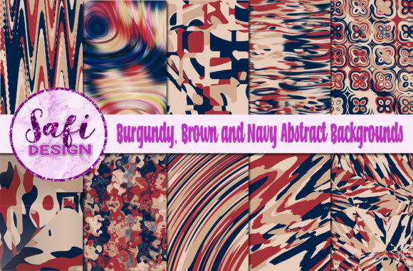 Print on Demand: Burgundy, Brown and Navy Backgrounds Graphic Backgrounds By Safi Designs