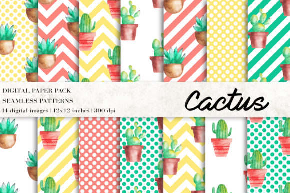 Cactus Digital Papers Graphic Patterns By BonaDesigns