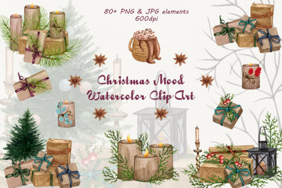 Christmas Mood. Watercolor Clip-Art Set Graphic Illustrations By BarvArt