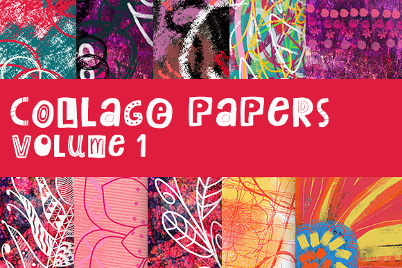 Collage Papers Volume 1 Graphic Backgrounds By Thistle Fairy Studio