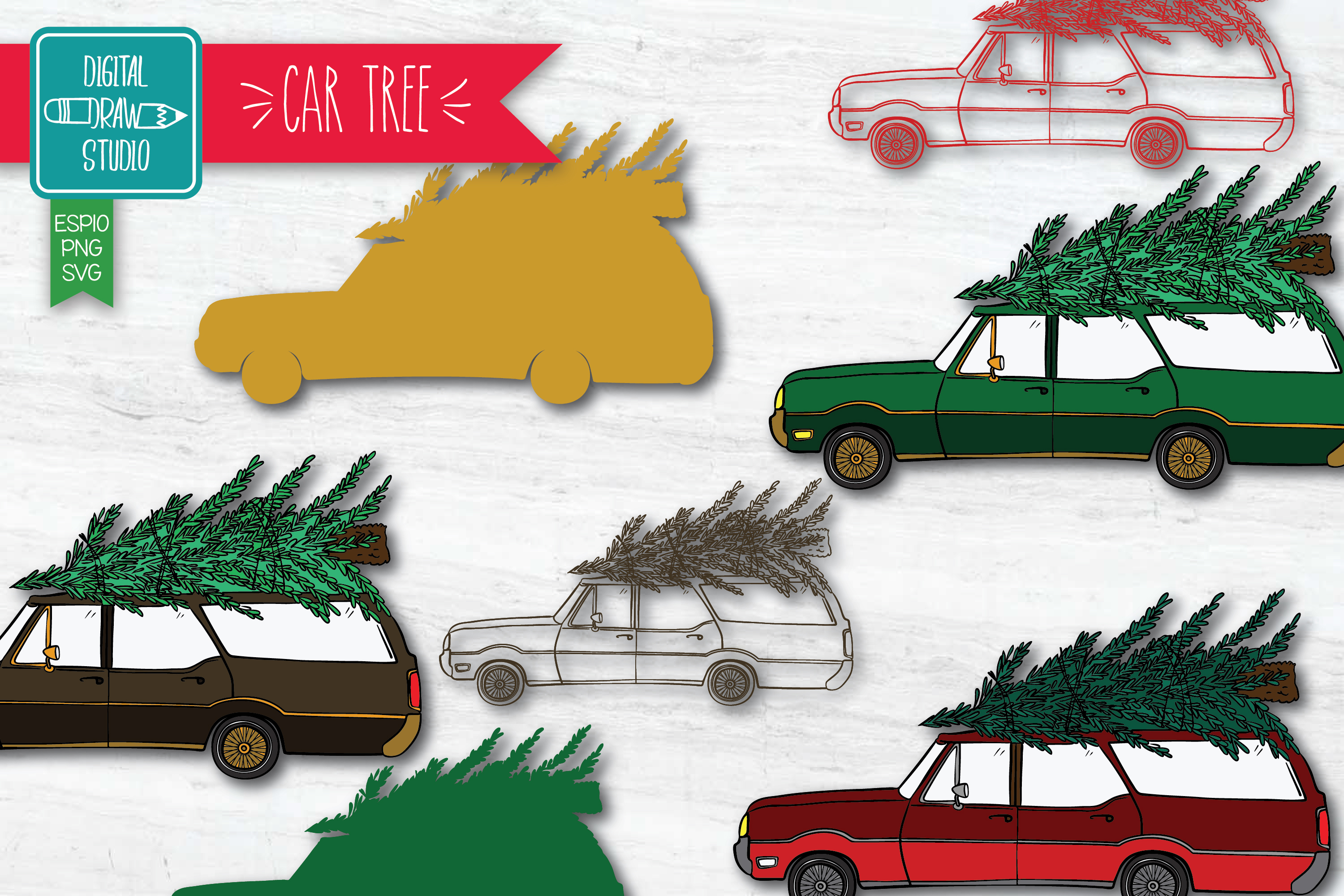 Download Free Color Station Wagon Car Christmas Tree Graphic By for Cricut Explore, Silhouette and other cutting machines.