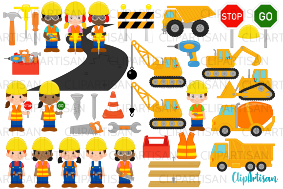Construction Clip Art Graphic Illustrations By ClipArtisan