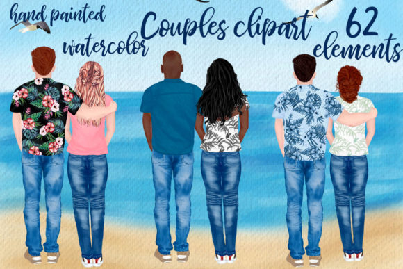 Couples Clipart Custom People Rear Graphic Illustrations By LeCoqDesign