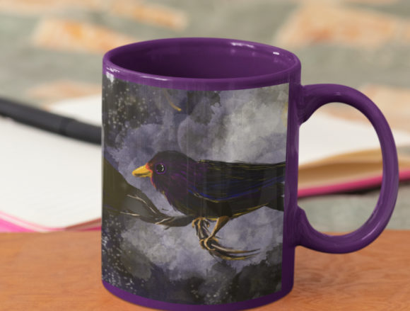 Crow Illustration Raven at Midnight Graphic Illustrations By mamamagpie