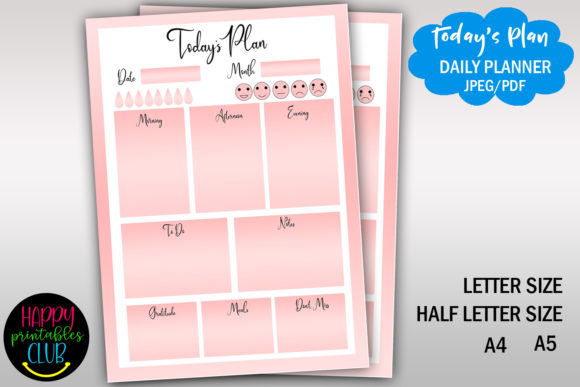 Print on Demand: Daily Printable Printable- Day Planner Graphic Print Templates By Happy Printables Club