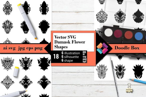 Damask Flower Shapes Vector Graphic Crafts By DoodleBox