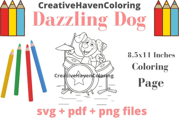 Print on Demand: Dazzling Dogs Coloring Page #1 Graphic Coloring Pages & Books Adults