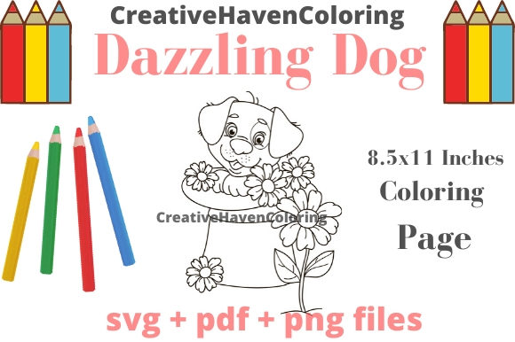 Print on Demand: Dazzling Dogs Coloring Page #11 Graphic Coloring Pages & Books Adults