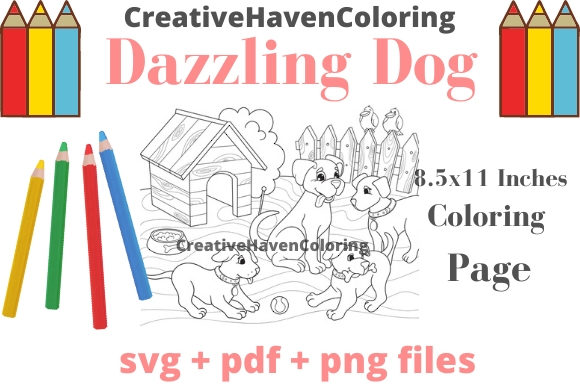 Print on Demand: Dazzling Dogs Coloring Page #13 Graphic Coloring Pages & Books Adults