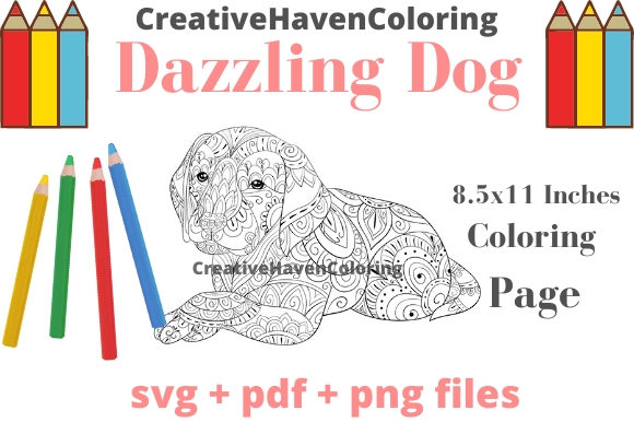 Print on Demand: Dazzling Dogs Coloring Page #14 Graphic Coloring Pages & Books Adults