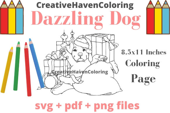 Print on Demand: Dazzling Dogs Coloring Page #16 Graphic Coloring Pages & Books Adults